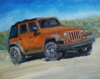Jeep, Original Oil Painting, 100% hand painted