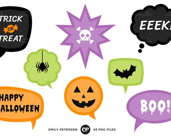 50% OFF SALE! Halloween Speech Bubble Clip Art, Halloween Clipart, Halloween Words Clip Art - Commercial Use, Instant Download