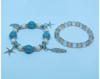 Two Set Stretchable Beaded Bracelet