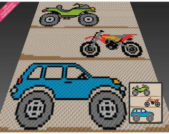 All Terrain Vehicles crochet blanket pattern; c2c, cross stitch; graph; pdf download; no written counts or row-by-row instructions