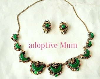 Antique Austro-Hungarian Necklace and Earrings Set with Chrysoprase and Coral on Gilt Brass Jewelry (6363)