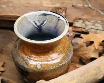 Blue Lined Sodafired Vase