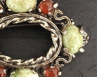 Celtic brooch. Miracle brooch. Agate brooch. Faux agate brooch. Scottish brooch. Vintage brooch