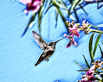 Hummingbird ~ Flying Bird ~ Bird Feeding ~ Flowers ~ Nature ~ Animal ~ Bird ~ Photography ~ Wall Art ~ Digital Print ~ Home Decor ~ Framed