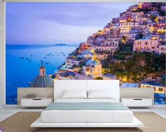city wallpaper, Sorrento wall mural, Sorrento wallpaper, Italy wall mural, city wall decal, Italy wallpaper, sea side city wall mural