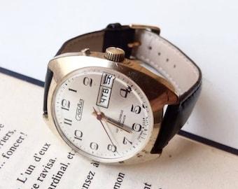 Vintage Watch  Slava , Vintage men's watch,  Soviet mechanical watch, eather mens watch,simple mens watch, Gold Platted watch,watch USSR,