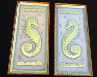 2 Vintage Seahorse Pictures by Metalcraft