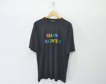 GIANNI VALENTINO Vintage 90's Shirt Embroidery Spell Out Black Colour Size L