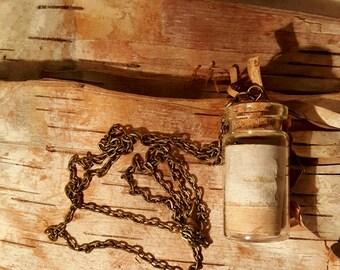 Birch Bark Bottle Necklace