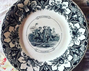 6 old talking plates: the old TESTAMENT. Sarreguemines. Nineteenth century. Black and white. Biblical scenes. Religious plate. Bible
