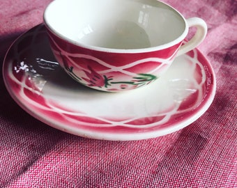 Digoin Sarreguemines white, pink and green coffee cup. 1920's earthenware. Model AUDE. antique french.
