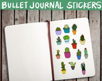 BULLET JOURNAL STICKERS, printable, doc, pdf, png, succulent stickers, cactus stickers, cute stickers, bullet journal printable, editable