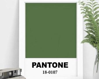 Green Pantone Print, Green Color, Pantone Color, Home Decor, Modern Print, Digital Art Print, Art Decor, Green Wall Art, Modern Art Print