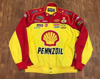Vintage NASCAR Jacket 1990's XXl Varsity jacket Yellow and red Chase Authentics Pennzoil patches all over print jacket shirt unisex