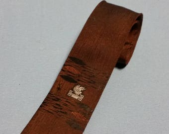 Vintage Skinny Necktie, Brown with Focal Point Dragon design
