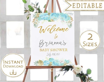 Welcome Sign Baby Shower Floral Blue Gold Editable Printable Flower Welcome Poster PDF Digital Art Template Instant Download Digital Print