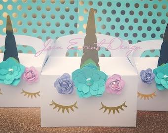 Unicorn birthday party favor boxes