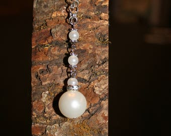 Silver and Pearl drop necklace
