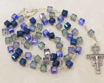 Blue Square Crystal Rosary