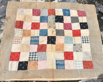 Antique Doll Quilt, Circa 1860 'One Patch' Vintage Quilt, Handmade In Traditional Patchwork with a Border, #18072