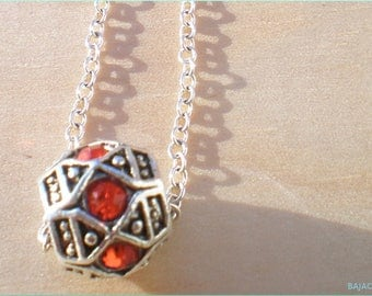 Rhinestone Beaded Necklace, Red Bead Necklace, 925 Sterling Silver Chain, Jewelry Findings