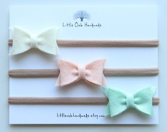 Set of 3 Wool Felt Bow Headband - Ivory, Apricot, Fresh Mint - Baby Headband - Nylon Headband