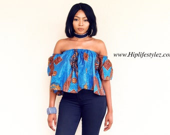 Blue Off The Shoulder African Print, Ankara, Flare Top