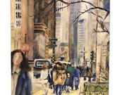 Watercolor art print — ready to hang — Downtown Chicago street scene in Autumn with highrises and people walking down Michigan Ave