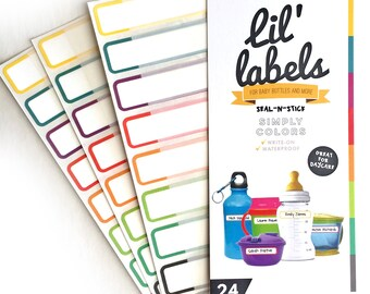 Bottle Labels (Simply Colors 24pk / waterproof labels for daycare / dishwasher-safe labels for school) FREE ship in US