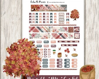 Fall Printable Planner Stickers/Pocket Travelers Notebook/Monthly Kit/Annie Plans Printable/Fall September Glam Apple Pie Leaf Tree Flowers