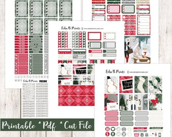 Home for the holidays Printable Planner Stickers/Weekly Kit/For Use with Erin Condren/Cutfiles Winter December Glam Glitter Snow