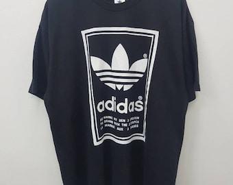 Vintage Adidas Big Logo Trefoil T-shirts Spell Out Hip Hop Style Large Size Black Colour