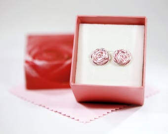 Pink rose stud earrings with pink rose gift box and polishing cloth