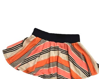 Circle Twirly Striped Skirt Sz 12 months - 4 Navy Pink Coral Oatmeal