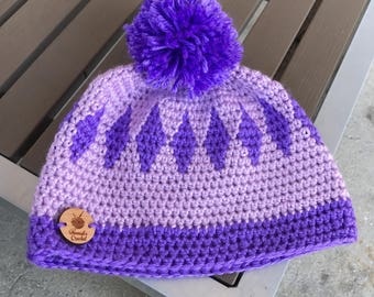 Purple pom beanie diamonds crochet