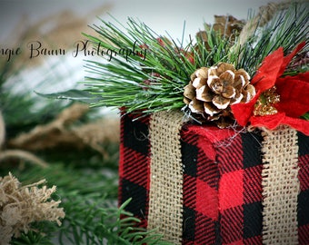 Stock Photo | Buffalo Plaid Christmas Gift | Personal or Commercial Use