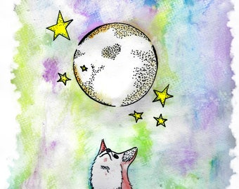 The Fox and the Hare and the Moon --Print--