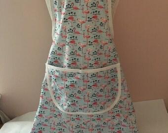 flamingo Childs cross at back apron, kitchen apron, art apron, school apron, gift