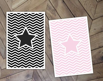 Set of 2 chevron patterned star to write your finest thoughts