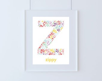 Letter Z for Zippy Kids Floral Art Printable