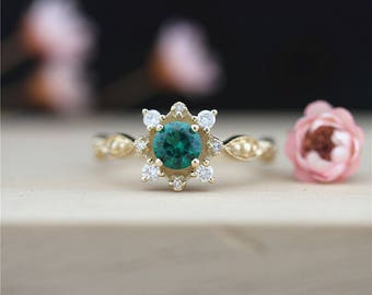 Lab Created Emerald Engagement Ring 14K Yellow Gold Ring 5mm Round Cut Emerald Ring Wedding Diamond Ring Mother's Gift Anniversary Ring