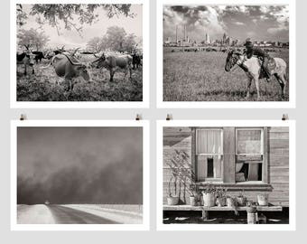 Texas Country Photo Collection, Texas Panhandle, Dallas Skyline, Longhorn Steer, Farmhouse