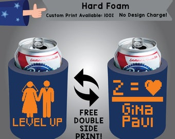Level Up Name Name Hard Foam Can Cooler Wedding Double Side Print (HF-W9)