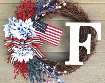 Fourth of July Wreath for Front Door 4th of July Wreath American Flag Wreath Summer Wreath with Monogram Wreath Patriotic Initial Wreath