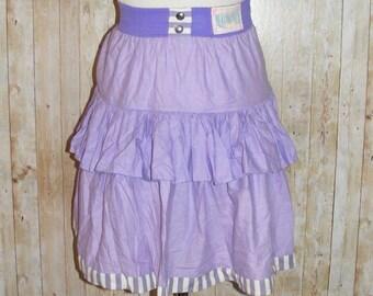 Size 4 vintage 80s high waist tier rara skirt elastic waist lilac/stripes (HK04)