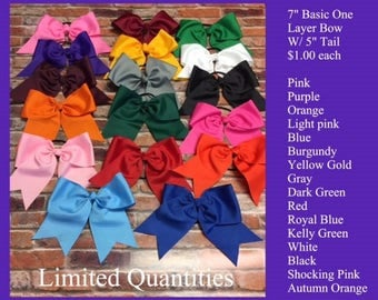 Large One Layer 7 inch Bow w/ 5 inch Tails.  ONLY 1.00 EACH!! Limited Quantities