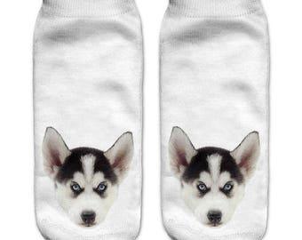 Husky puppy ankle socks