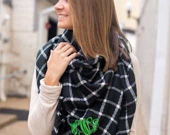 Monogrammed Plaid Blanket Scarf; fall accessories; womens scarf; gifts for her