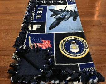 US Air Force Baby Blanket | United States Air Force Fleece Tie Blanket | USAF Pet Blanket | Usaf Dog Blanket | USAF Baby Blanket