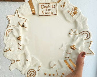 Vintage Ceramic Cookies for Santa Dish/Plate